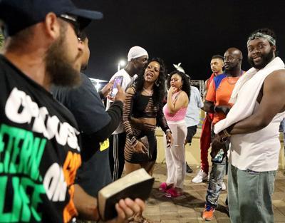 Street preachers draw crowd, police attention in Myrtle Beach during Bikefest