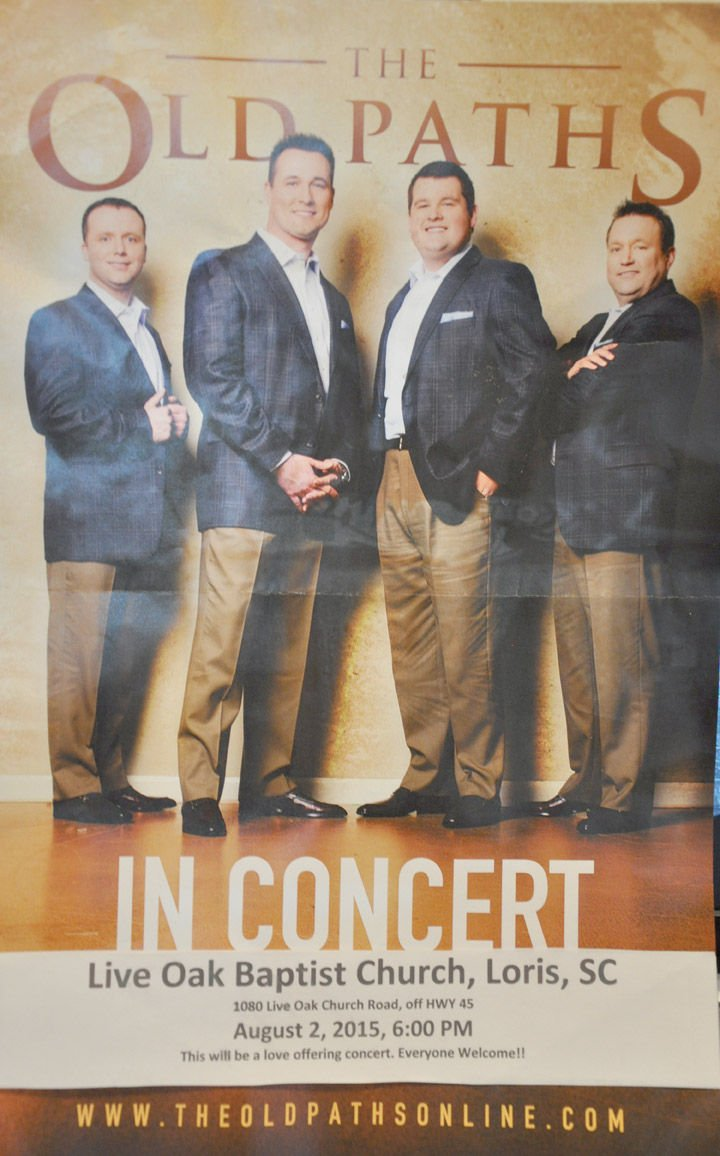 Live oak baptist church to host the old paths quartet aug 2 loris live oak baptist church to host the old paths quartet aug 2 malvernweather Choice Image