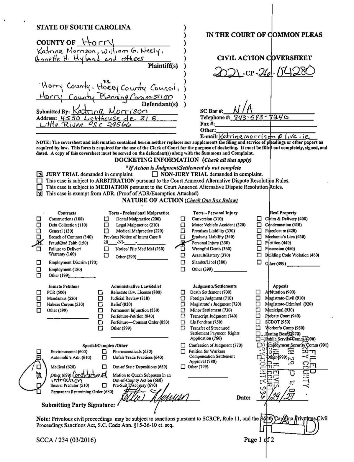Katrina Morrison's lawsuit against Horry County