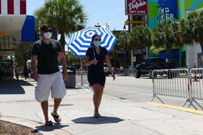 Pedestrians with masks on Ocean Boulevard