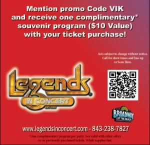 Legends In Concert Souvenir Program ($10 value) with Ticket Purchase
