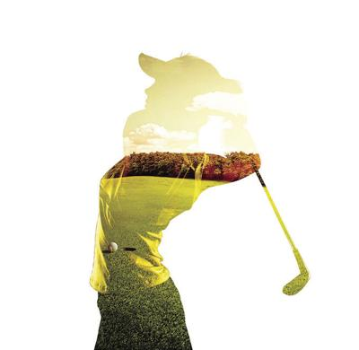 Lady golf graphic