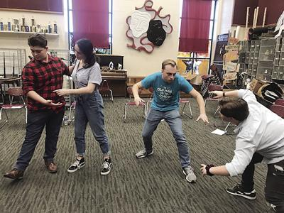 """CFHS thespians rehearse for """"Death Ahoy."""""""