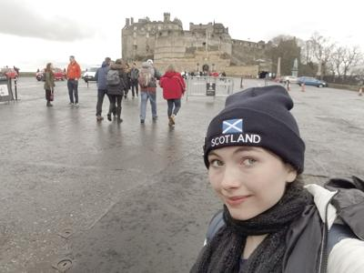 Shelley Sasser in front of Edinburgh Castle