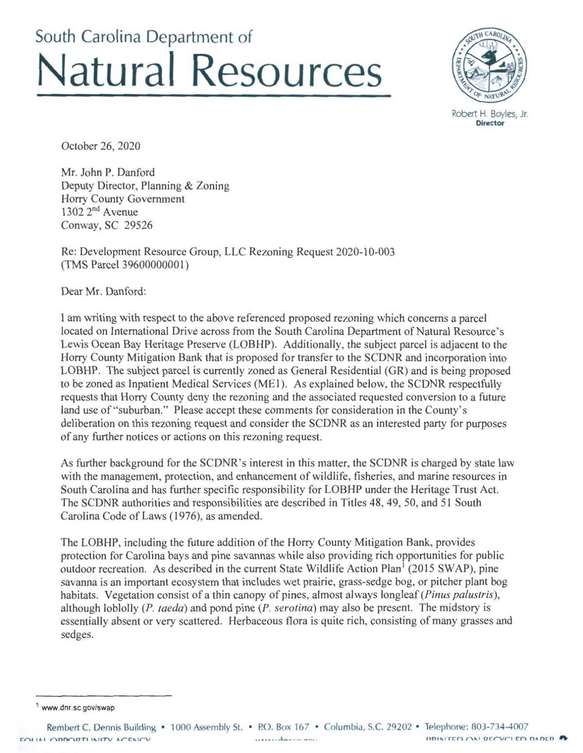 Hospital rezoning letter