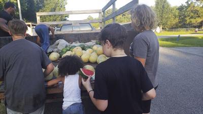 Unloading produce