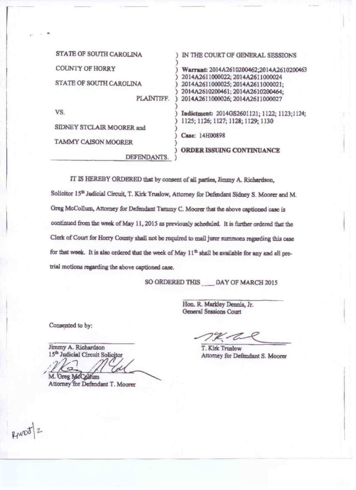 Order | Trial of Sidney and Tammy Moorer continued | Crime