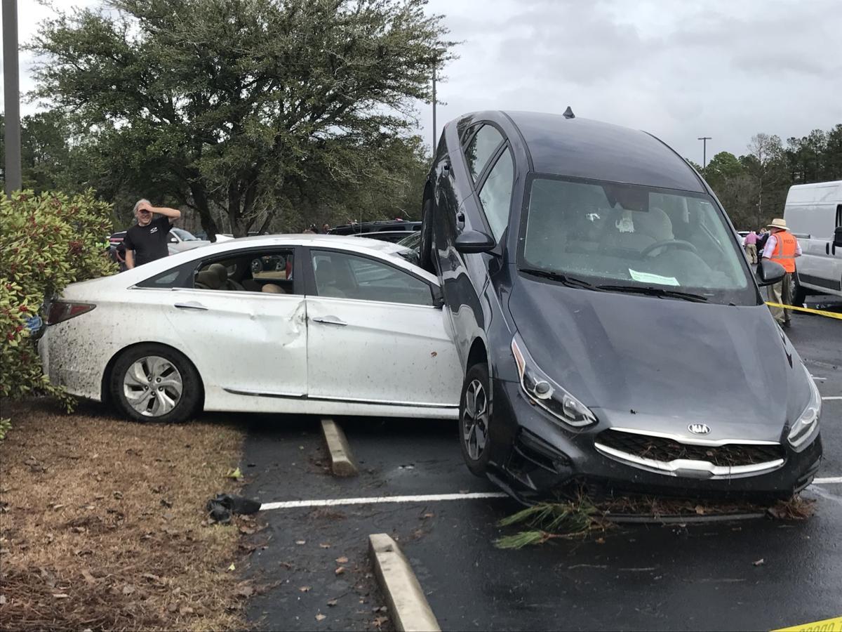 Tornado damages cars at Loris High School