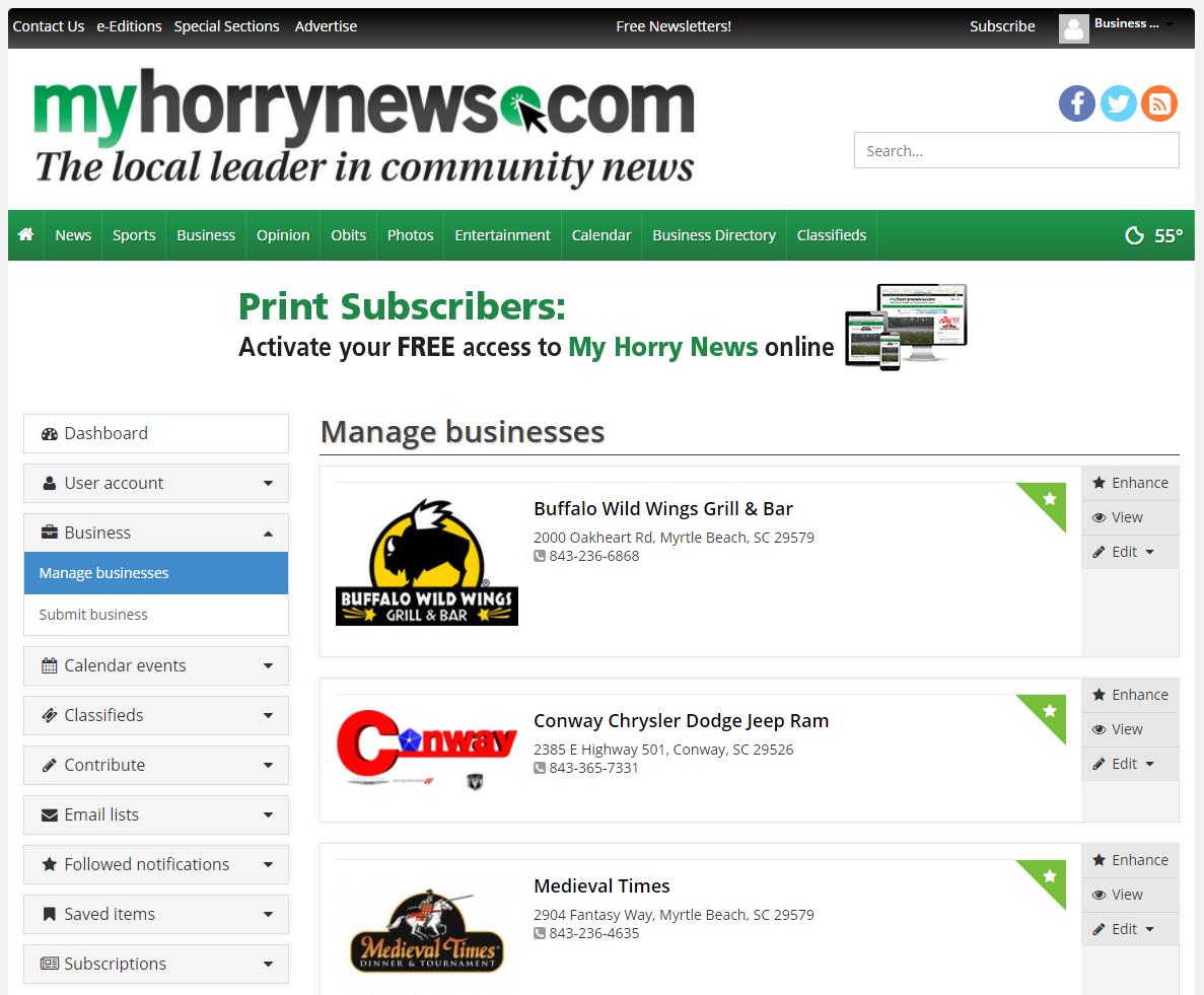 Business Directory FAQ | Site | myhorrynews com