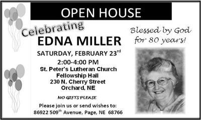 Edna Miller Celebrating 80th Birthday