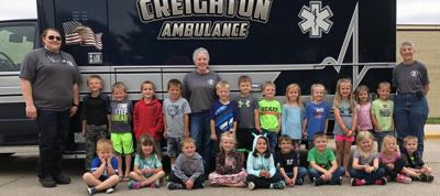 Creighton students tour an ambulance