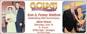 Ron and Penny Walton celebrating 50th anniversary