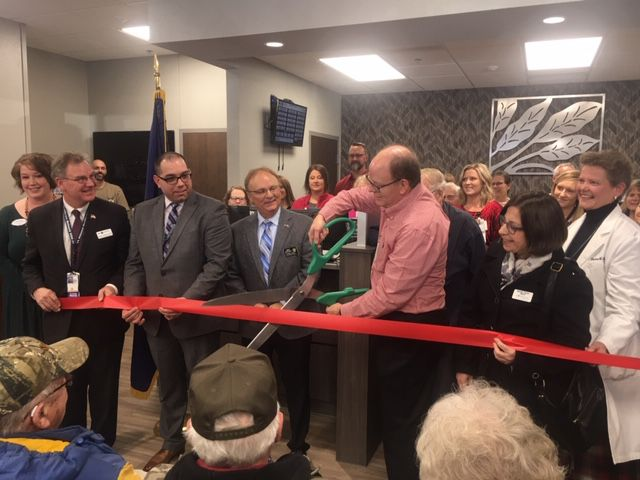 Dr. John Sneden Cuts the Ribbon on the new CBOC Clinic in Watertown.