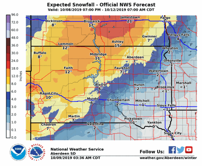 Predicted Snowfall Amounts