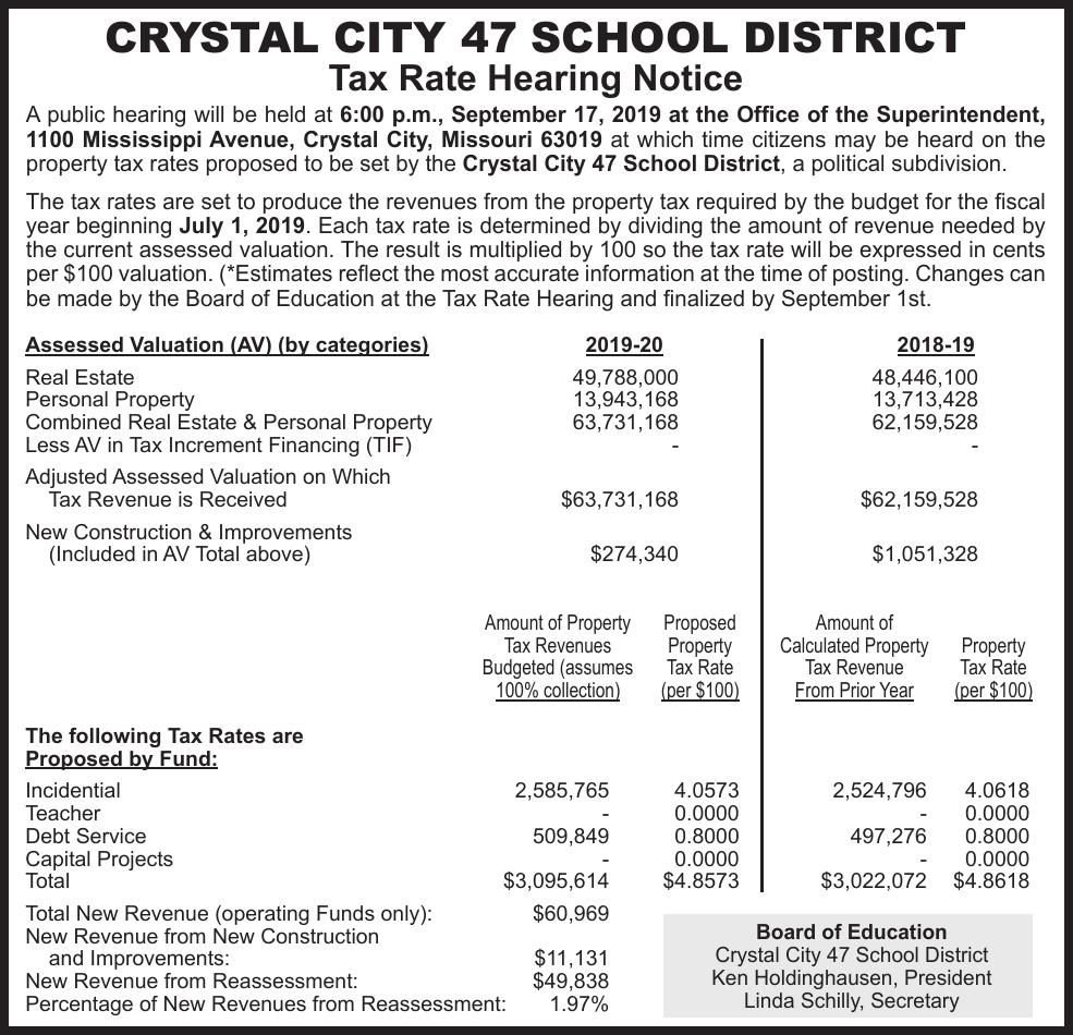Crystal City School Tax Rate Hearing