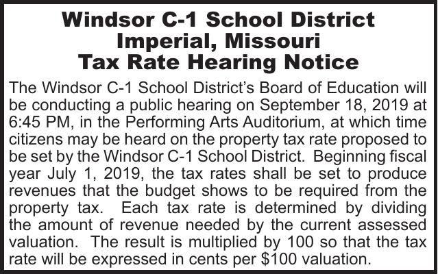 Windsor School Tax Rate Hearing
