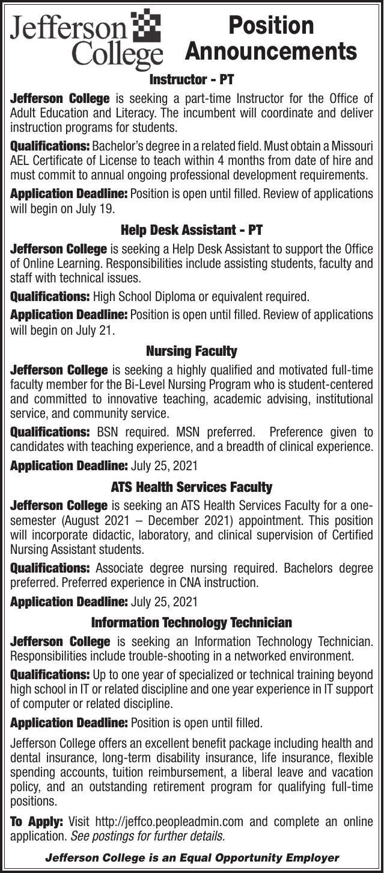Jefferson College Position Announcements