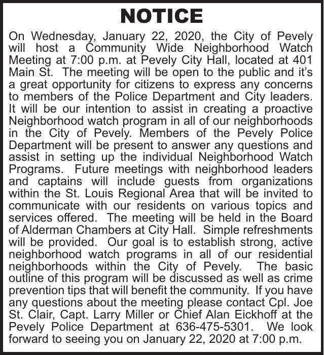 City of Pevely Neighborhood Watch