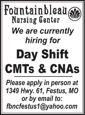 Fountainbleau Nursing Center Day Shift CMTs and CNAs