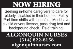 Algonquin Nurses Now Hiring In-Home Caregivers