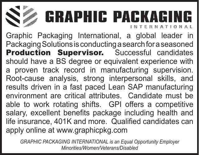 Graphic Packaging Production Supervisor