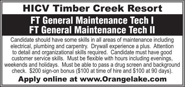 Timber Creek Resort FT Gen Maintenance Tech