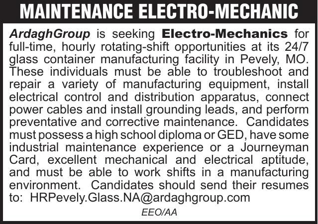 Ardagh Group Maintenance Electro-Mechanic