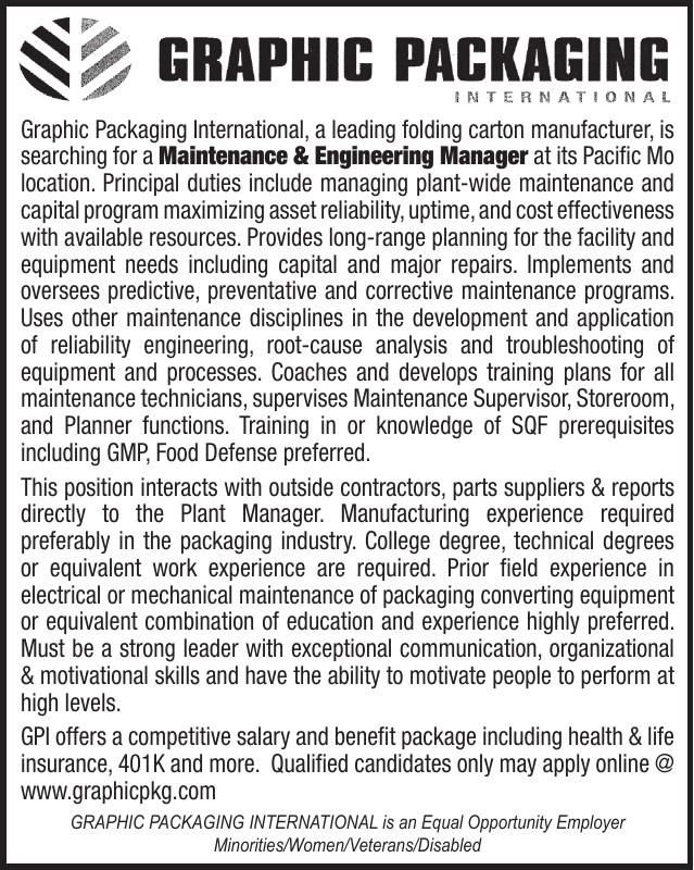 Graphic Packaging Maintenance & Engineering Manager