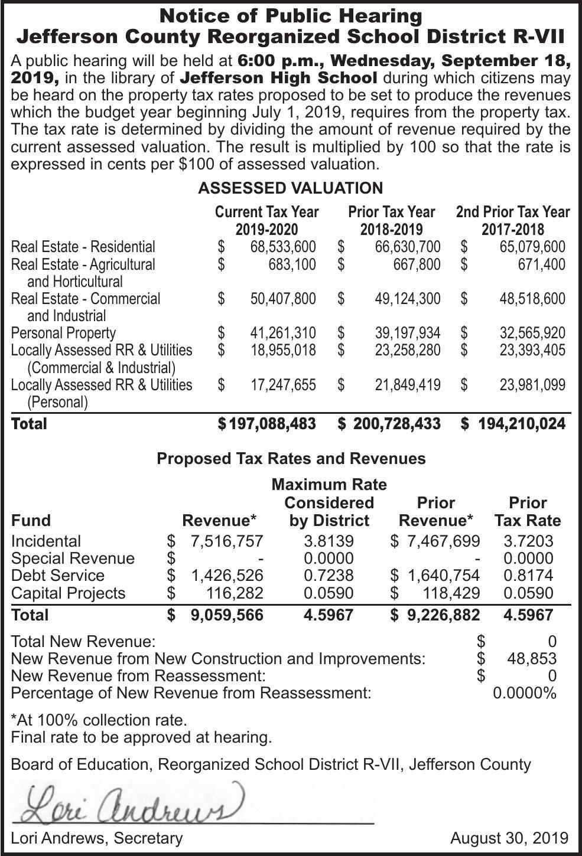 Jefferson R-7 School Tax Rate Hearing