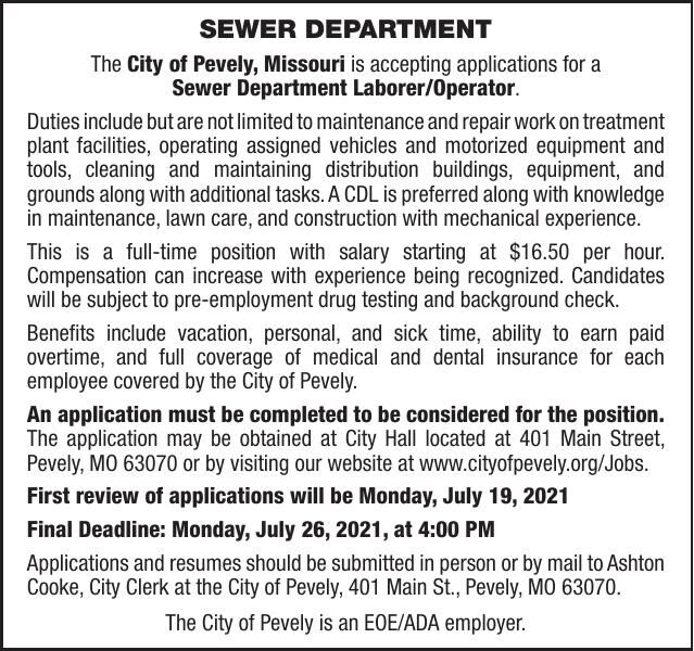 City of Pevely Sewer Dept. Laborer-Operator
