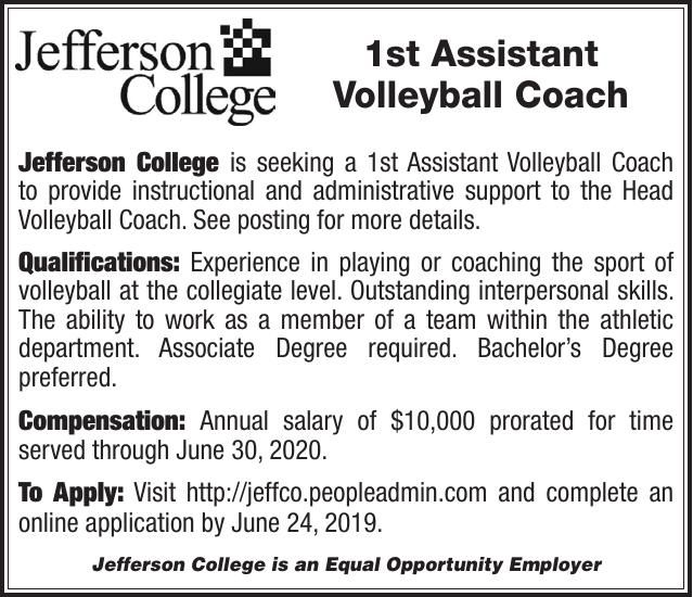 Jefferson College 1st Assistant Volleyball Coach
