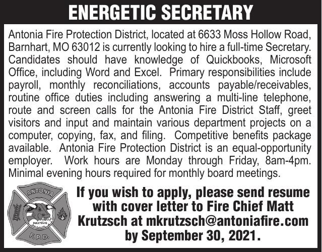Antonia Fire Protection District Full Time Secretary