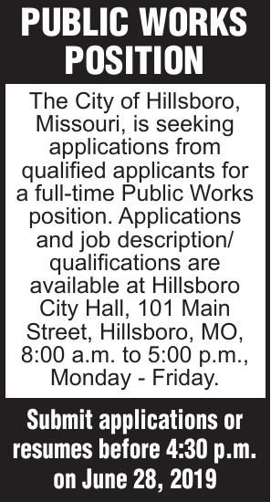 City of Hillsboro Public Works Position