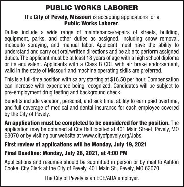 City of Pevely Public Works Laborer