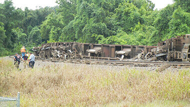 Several train cars derailed near the Larry G. Crites Memorial Park (formerly West City Park) in Festus.