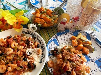 Southwest Shrimp Dinner, Sweet Potato Avocado Salad