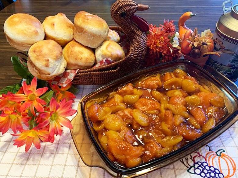 Sweet Potatoes and Apricot Bake, Batter Dinner Rolls