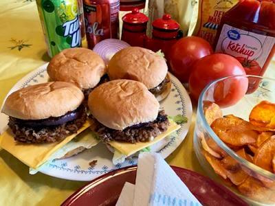 Blue Cheese Burgers, Sweet Potato Chips