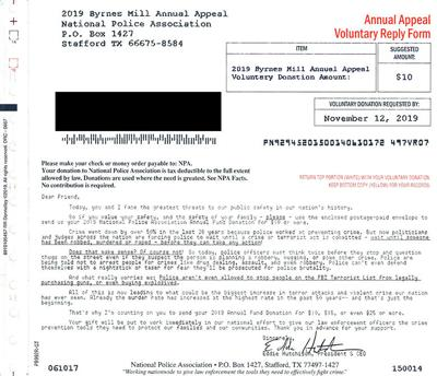 Byrnes Mill Police warn residents about this mailer.