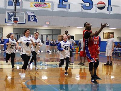 Northwest R-1 staff take on the Harlem Wizards at last year's fundraising game.