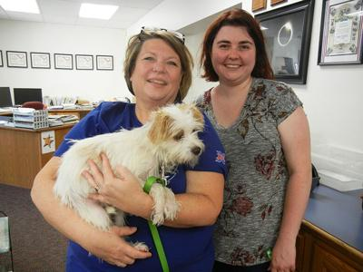 Peggy Scott, left, with her daughter, Laura Scott, and Laura's dog, Teddy.