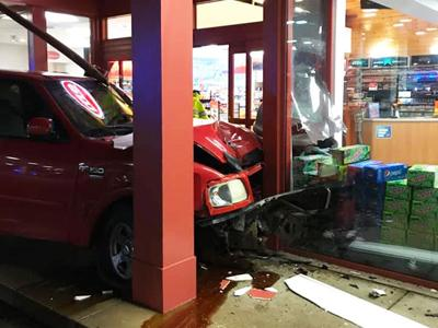 A pickup crashed into the Express Mart on West Gannon Drive in Festus.