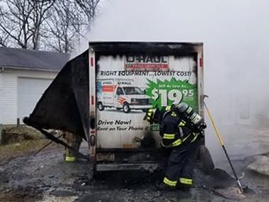 This U-Haul van was destroyed by fire outside a home south of Festus.