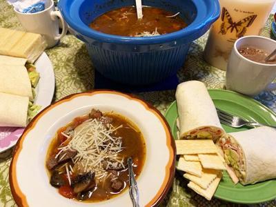Crockpot Steak and Mushroom Soup, Smoky Turkey Wraps