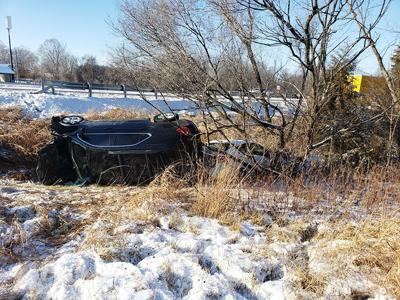 A vehicle overturned along Hwy. 67 after hitting a highway patrol vehicle that was responding to a previous wreck.
