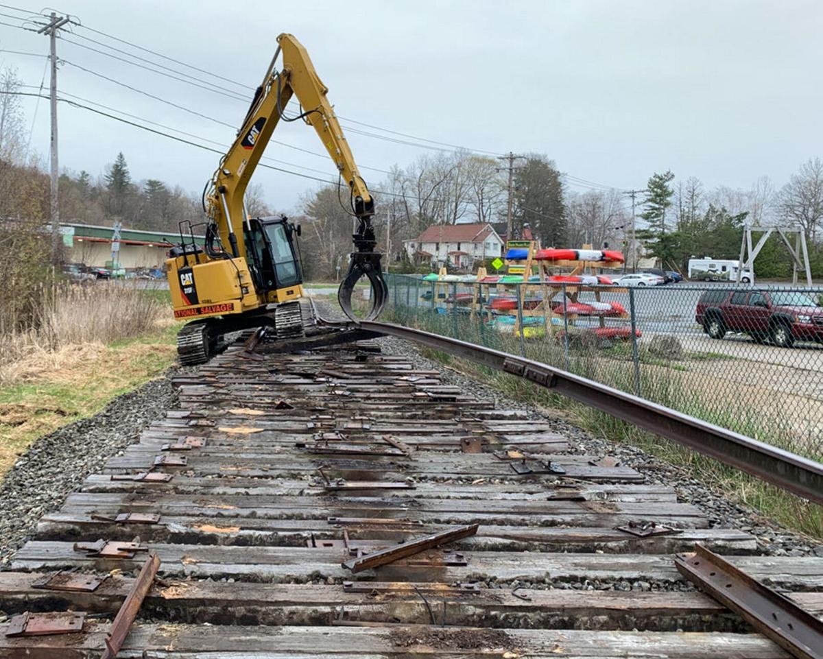 Crews arrive in Saranac Lake to pull out rail tracks for scrap