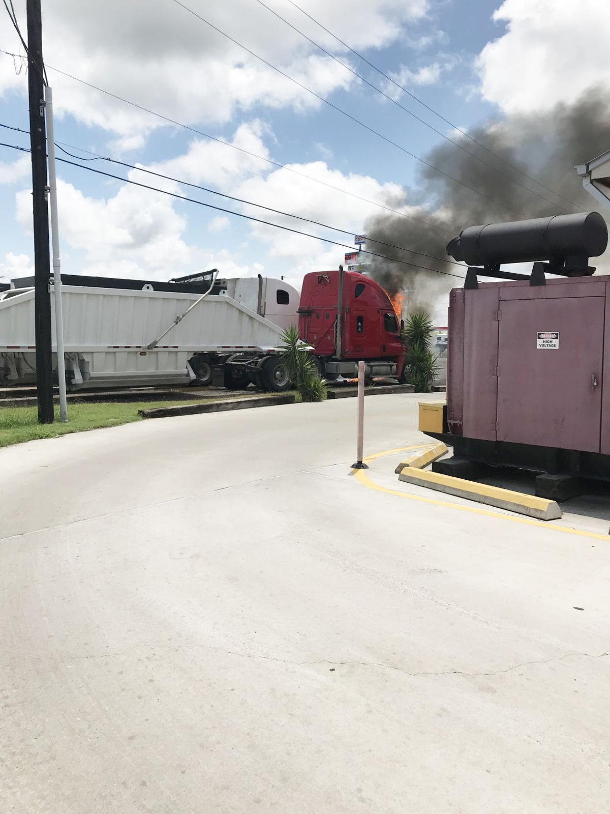 Big rig burn out in Mathis