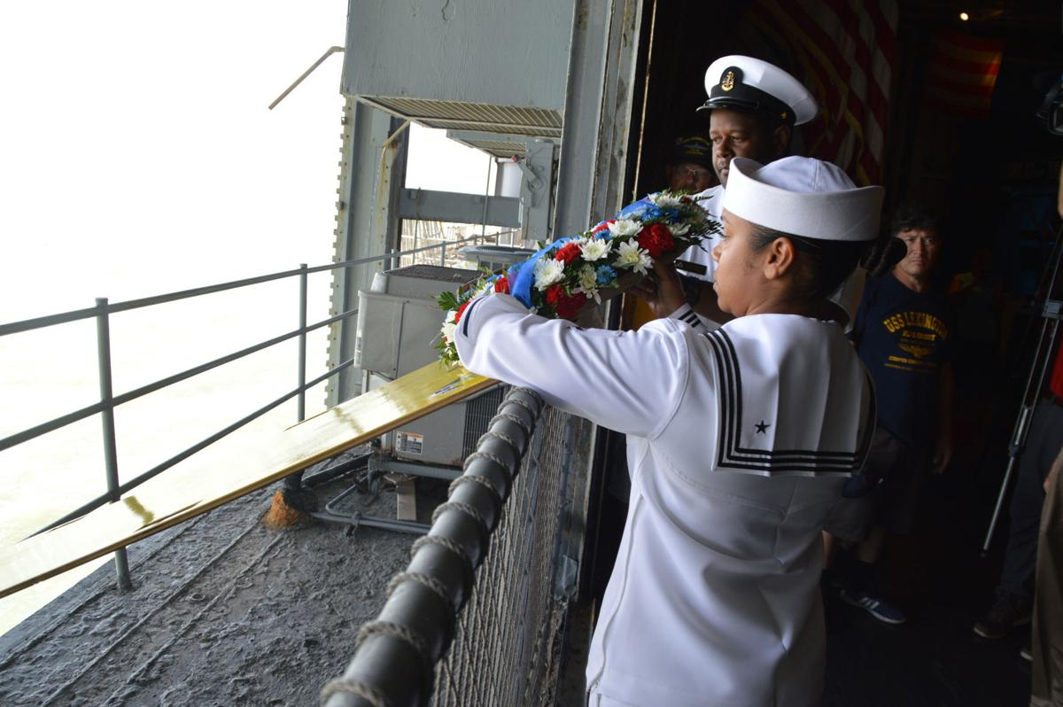 Those lost during Battle of Midway, D-Day remembered during commemorative ceremony aboard USS Lexington