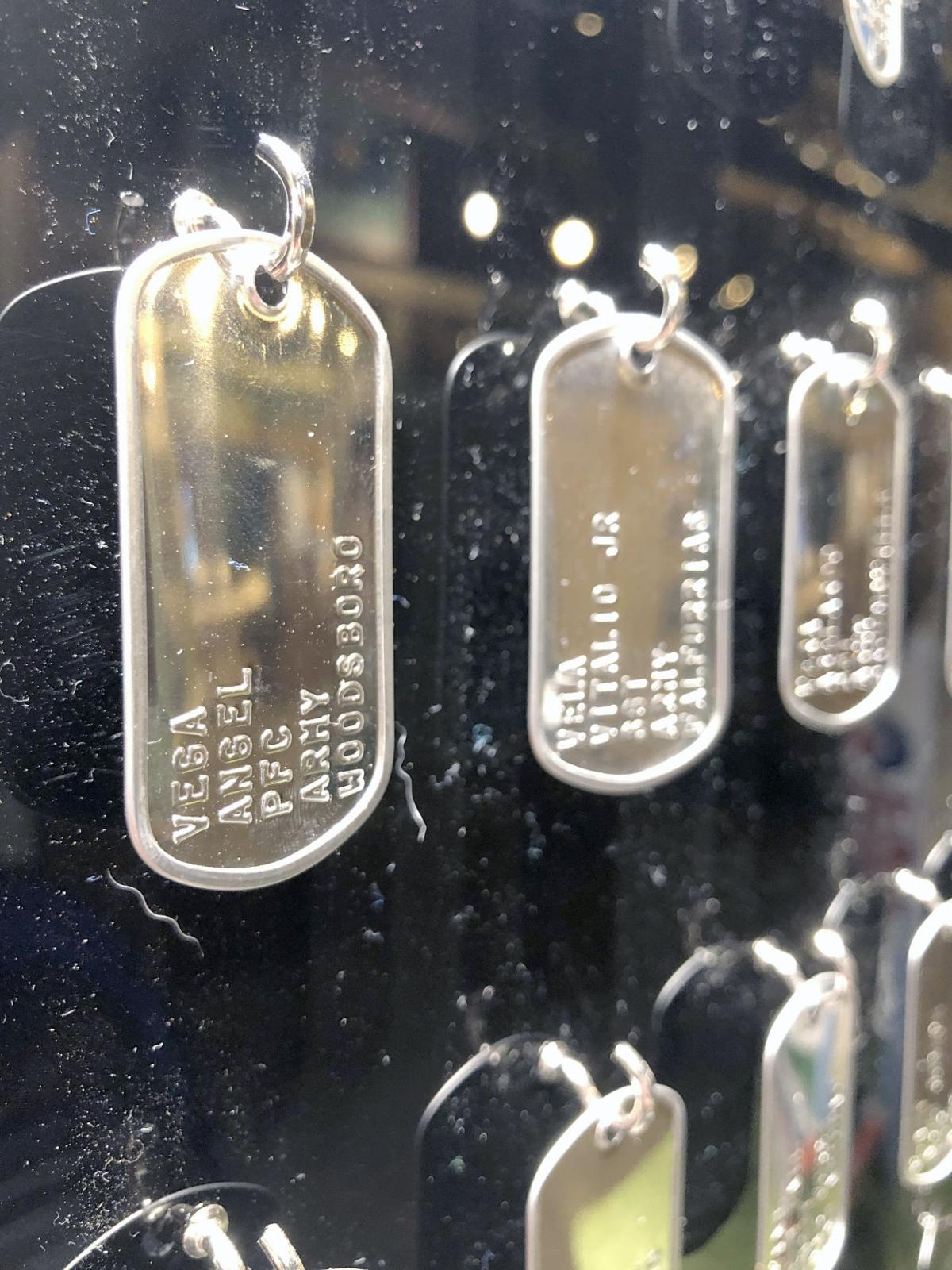Veterans names on tags