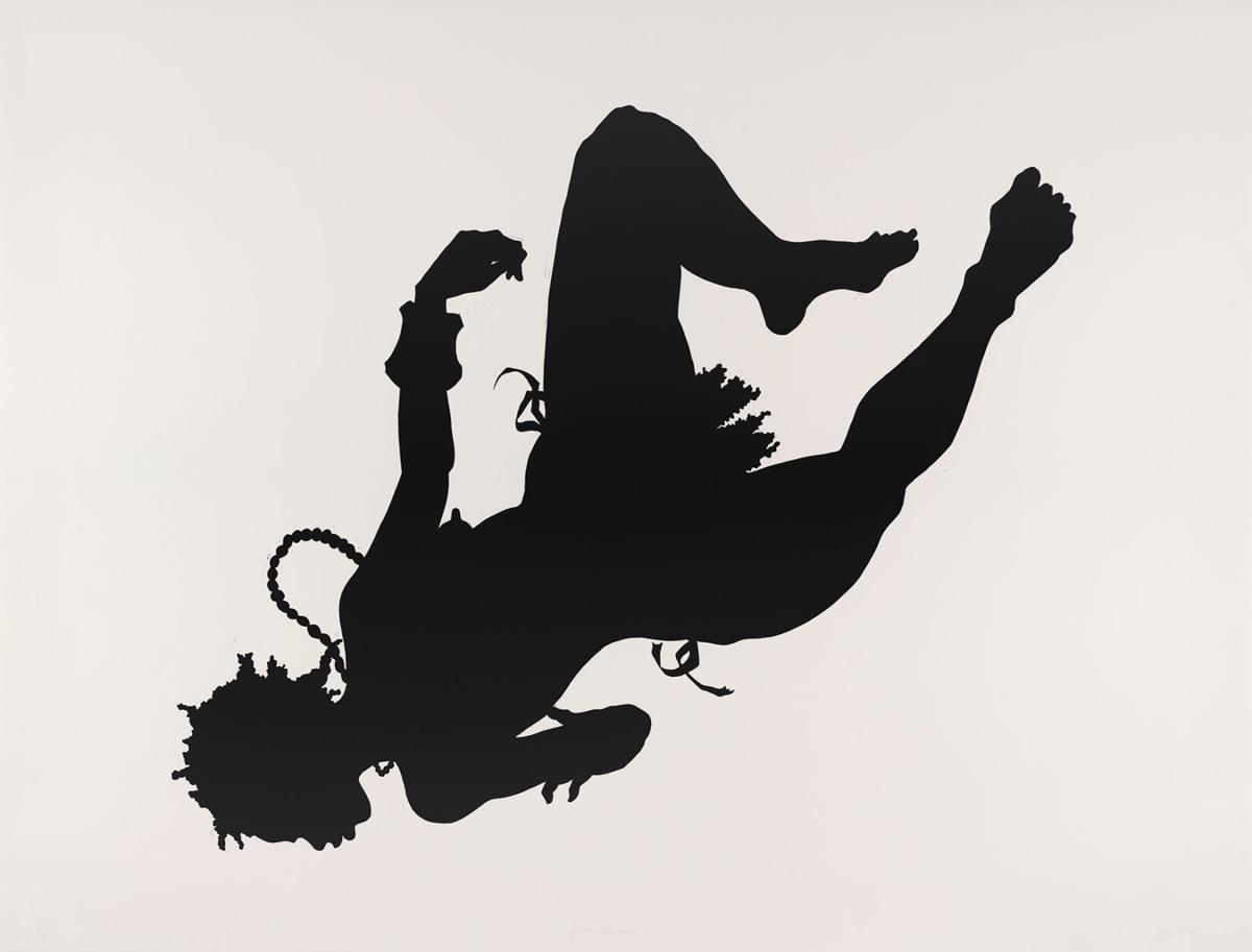 """""""African/American,"""" Kara Walker.  Linocut, 44 x 62 in. Collections of Jordan D. Schnitzer and His Family Foundation, 1998.53."""